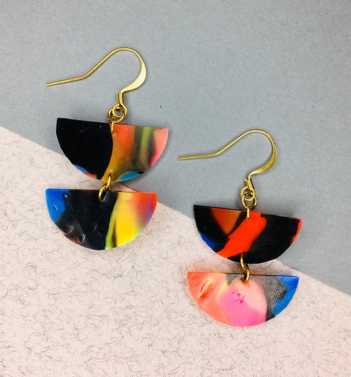 Divided Sphere Earrings -Black/Red/Blue
