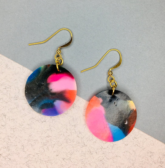 Sphere Earrings - Pink/Black/Blue