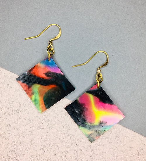 Square Earrings - Black/Pink/Yellow
