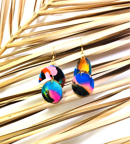 crescent & sphere earrings