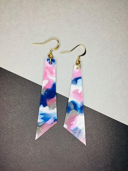 Triangle Earrings - Pinks/Blues/Silver