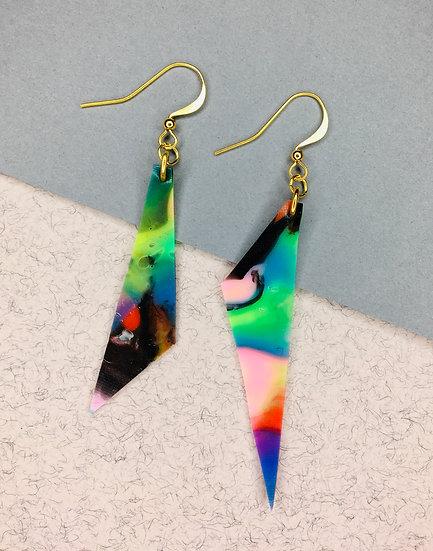 Triangle Earrings - Green/Black/Pastels