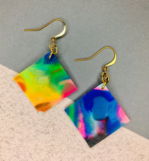 Square Earrings - Blue/Pink/Yellow