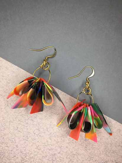 Calypso Earrings - Orange/Pinks/Black