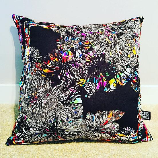 Black Flora Cushion Cover + British Wool Cushion Insert
