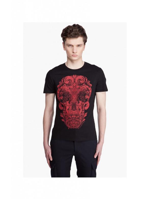carved wood skull t-shirt