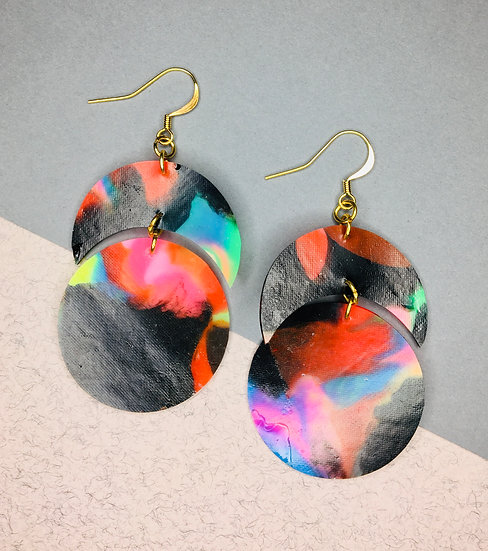 Large Crescent/Sphere Earrings - Black/Red/Blue