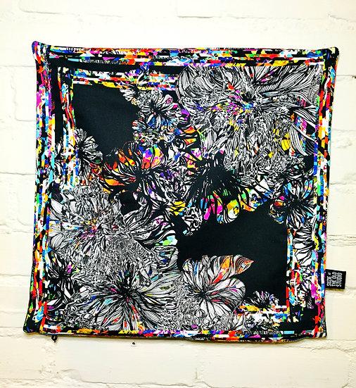 Black Flora Cushion Cover