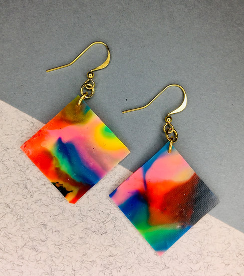 Square Earrings - Pink/Blue/Green