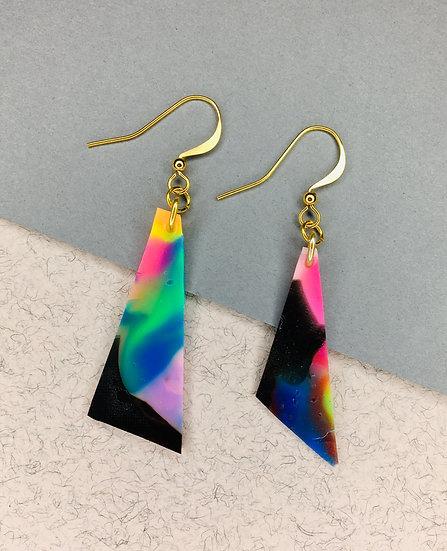 Triangle Earrings - Pink/Purple/Black