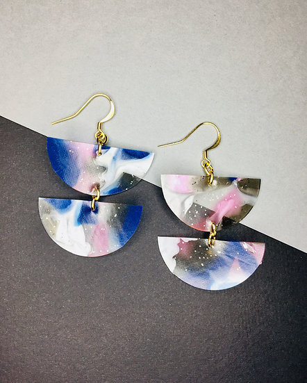 Divided Sphere Earrings - Pinks/Blues/Silver