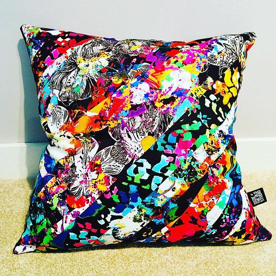 Floral Stripes Cushion Cover + British Wool Cushion Insert