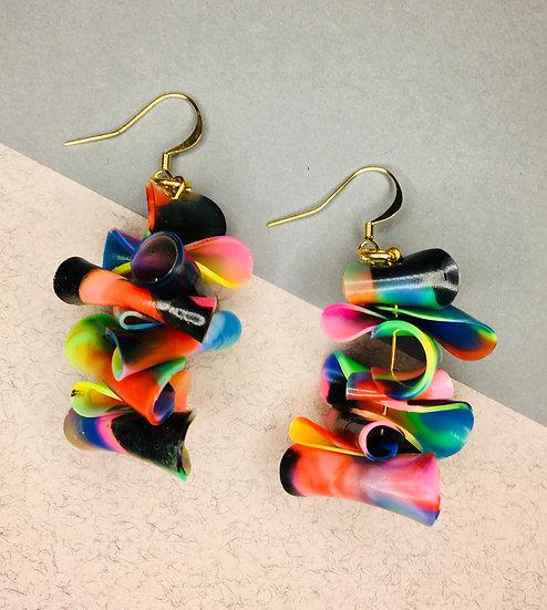 Confetti Earrings - Orange/Black/Blue