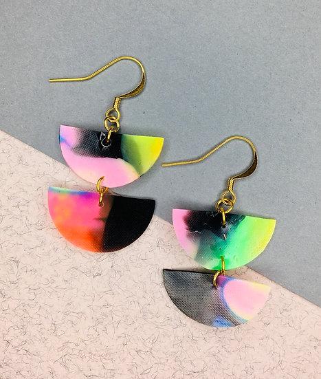 Divided Sphere Earrings - Black/Pink/Yellow