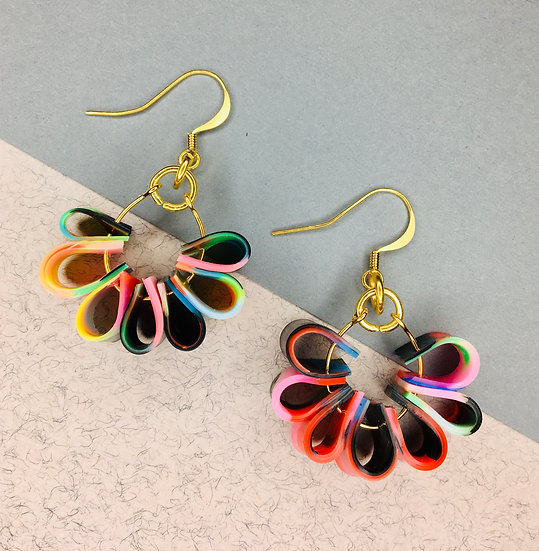 Flora Earrings - Red/Pink/Black