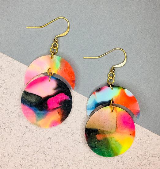 Crescent/Sphere Earrings - Black/Pink/Orange