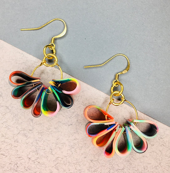 Flora Earrings - Black/Greens/Pinks