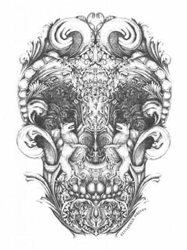 carved wood skull illustration
