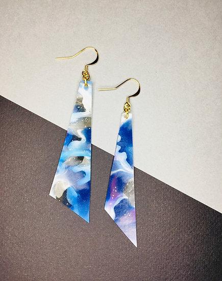 Triangle Earrings - Purples/Blues/Silver
