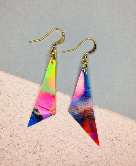 Triangle Earrings - Pinks/Blues/Reds