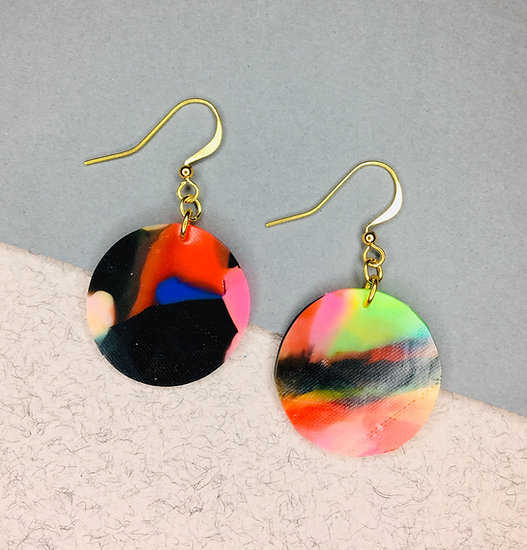 Sphere Earrings - Black/Red/Neon