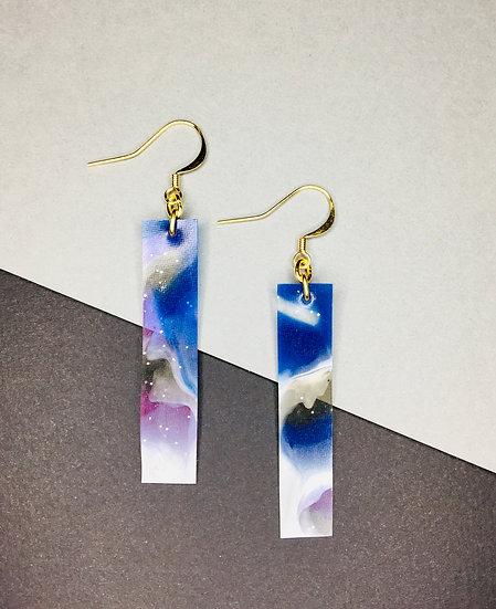 Rectangle Earrings - Purples/Blues/Silver