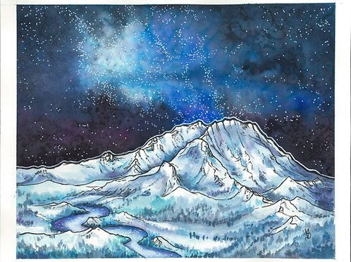 Mount St Helens at Night
