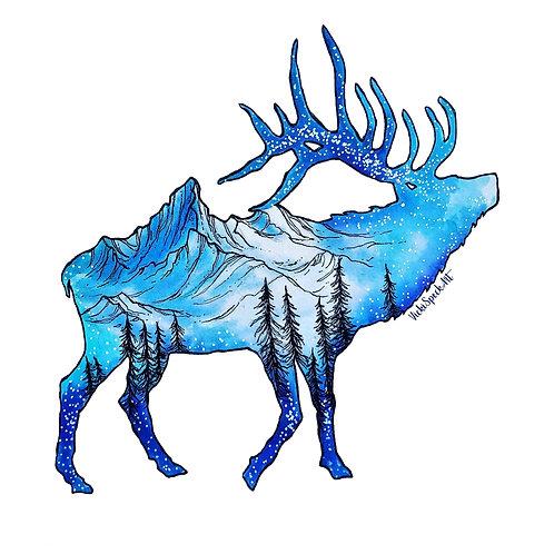 Tetons Elk Clear Sticker