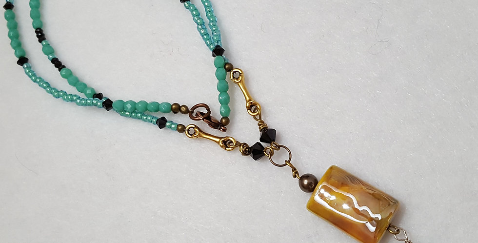 Ceramic Rectangular Leaf Design Bead Necklace