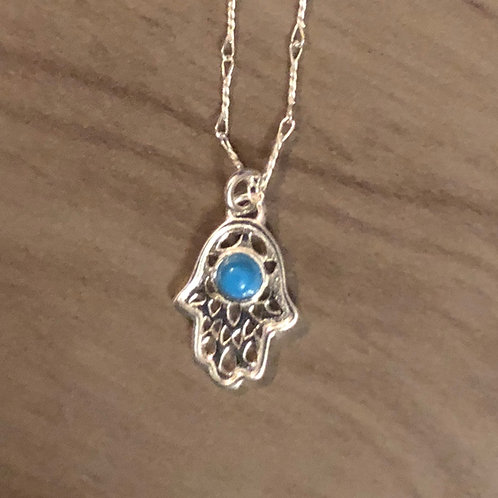 Sterling Silver Hamas with Turquoise Stone Pendent