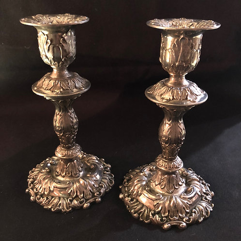 Traditional Shabbat Silver Candlesticks