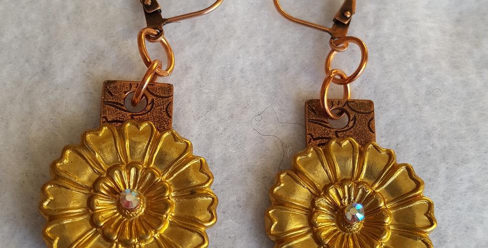 Antique gold flower Earring