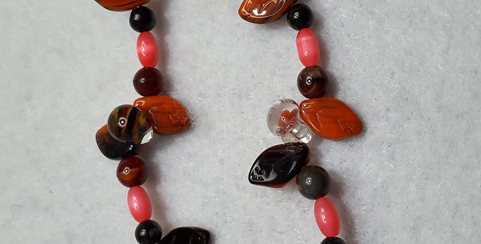 Orange/black Czech glass leaves bracelet