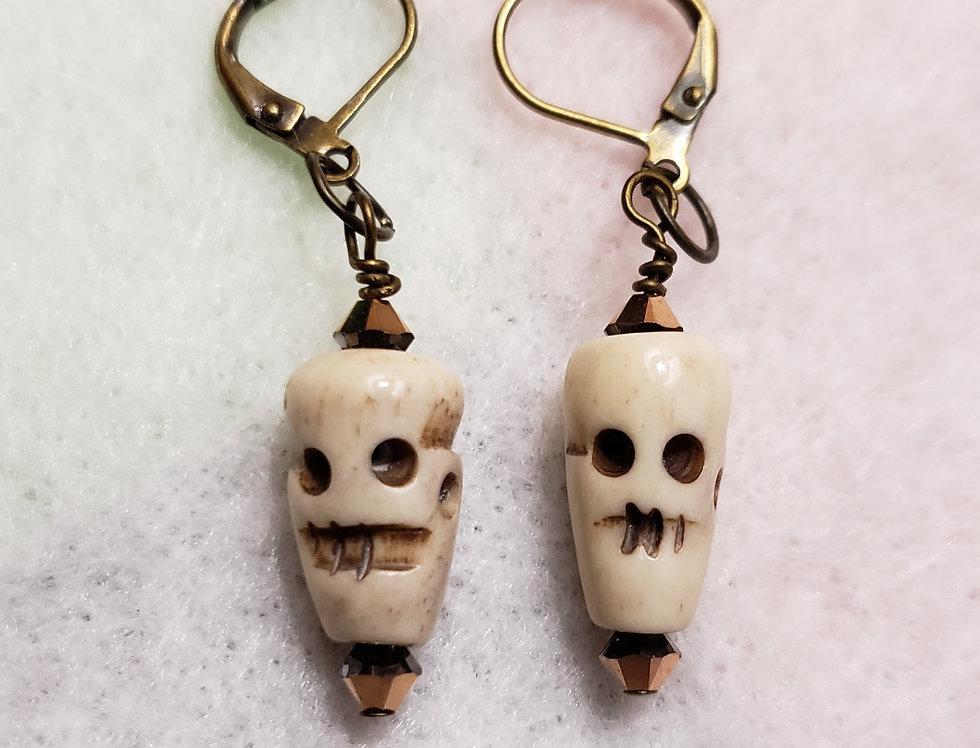 Cream Color Ceramic Skull Earrings