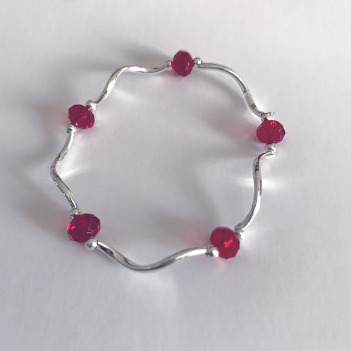 Turn Red Bead and Metal Bracelet