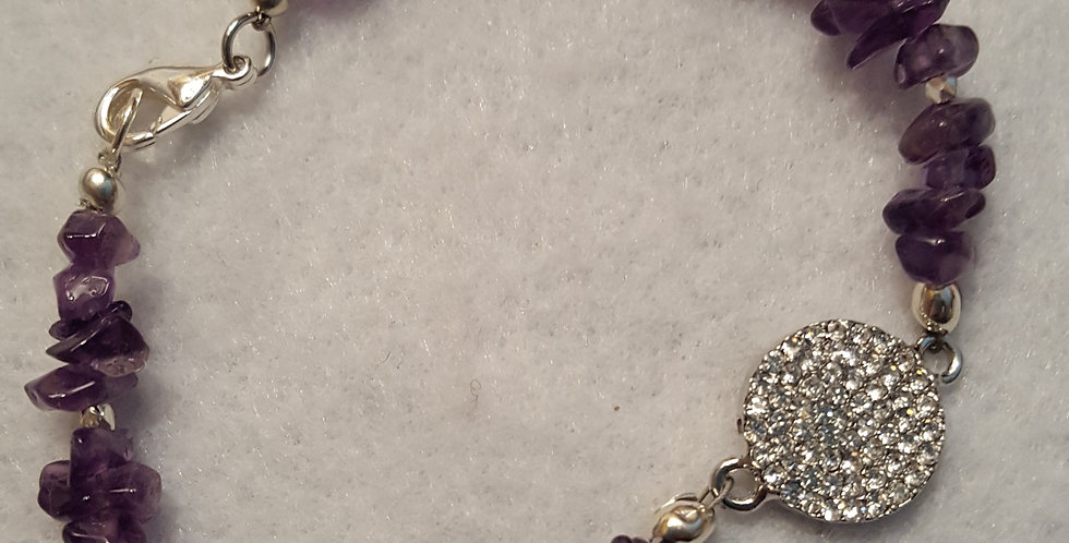 Amethyst purple chip bracelet