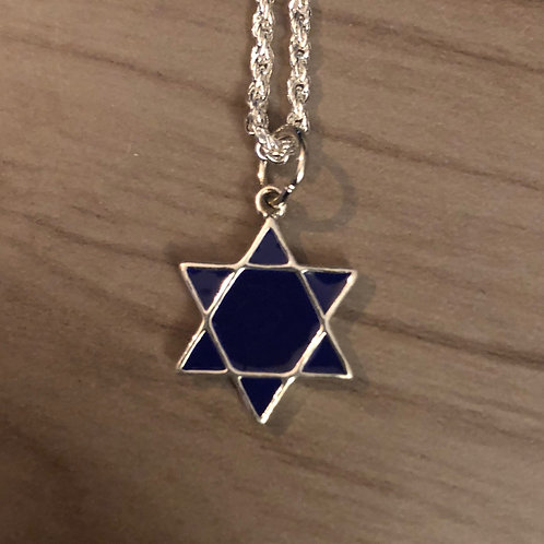 Sterling Silver and Dark Blue Glass Star of David Pendent
