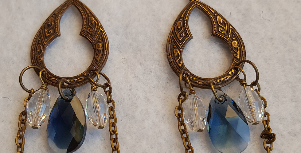 Brass etched earrings w/crystal color football shaped Swarovski crystal