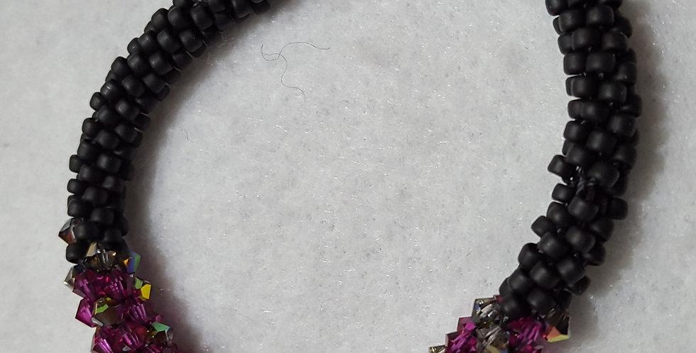 Matte black beads braided bracelet