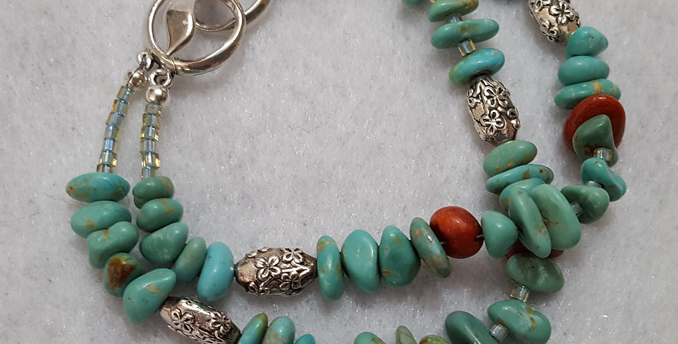 Turquoise chips, coral chips bracelet