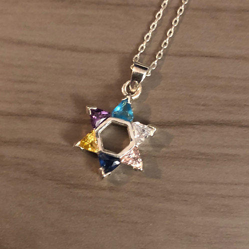 Silver Star of David Pendent with multi-colored stones