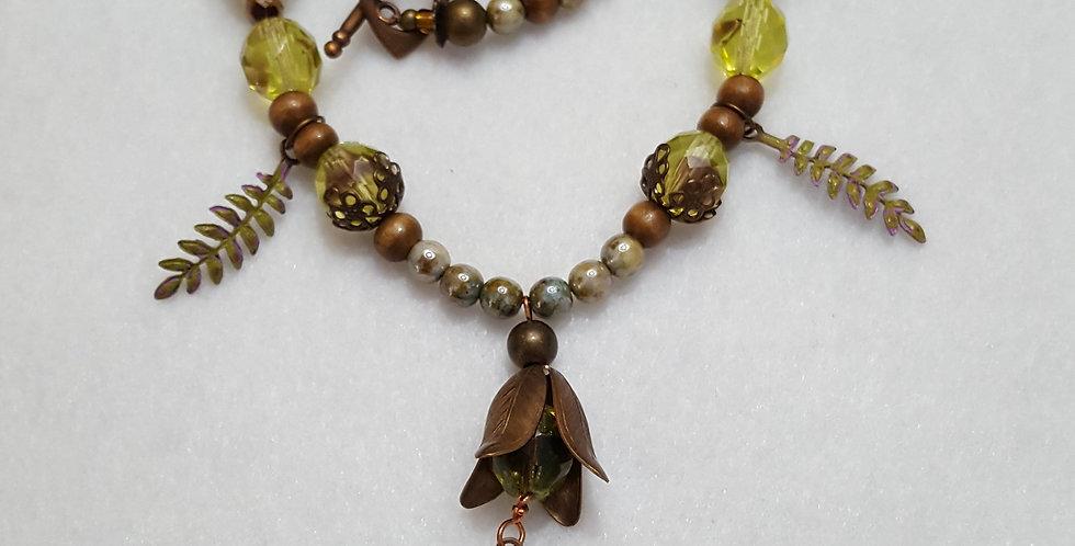 Brass flower petals necklace