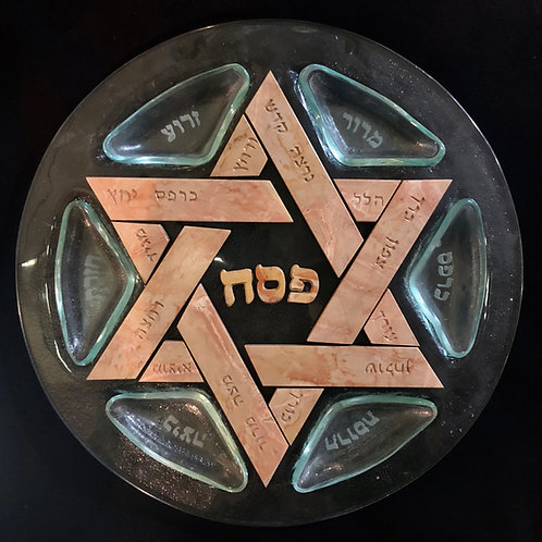 Glass and Jerusalem Stone Seder Plate