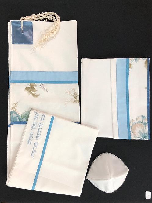 Silk Satin and Cotton Blue Floral Tallis
