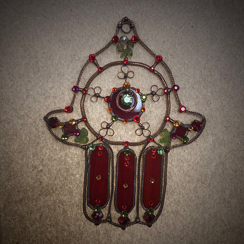 Hamsa Red Glass and Copper