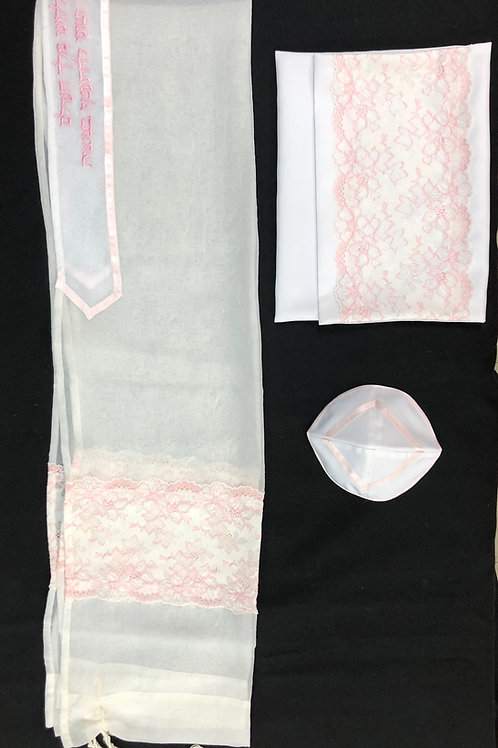 White Sheer with Pink Floral Lace