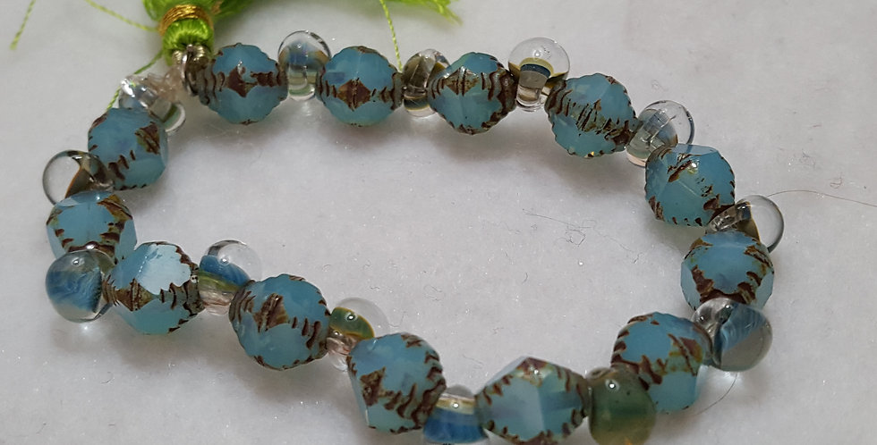 Czech beads with Picasso faceted finish bracelet