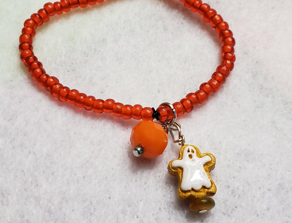 Stretchy Orange Glass Beaded Bracelet