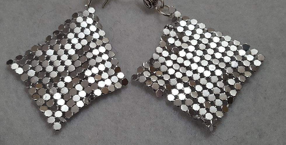 Silver chain cut in diamond shape silver Argente mess chain earrings