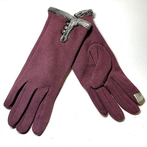 Plum Fur Gloves
